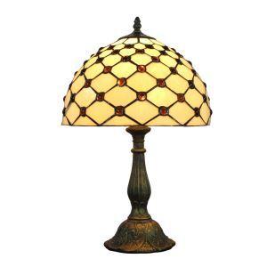 (EU Lager)D30cm Tiffany Tischleuchte Geometrisch Design 1-flammig im Schlafzimmer