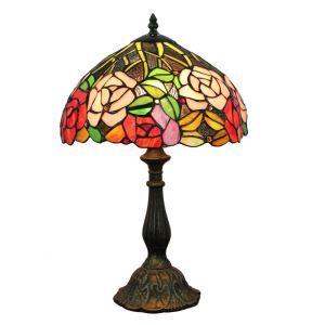 (EU Lager)Schöne Tischleuchte Tiffany Stil Bunte Blumen Design 1-flammig