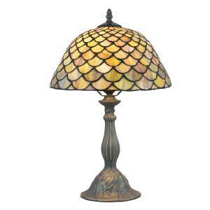 (EU Lager)D40cm Tiffany Tischleuchte Fischschuppen Design 1-flammig im Wohnzimmer