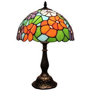 (EU Lager)Tiffany Tischleuchte D30cm Bunte Blumen Design 1-flammig im Wohnzimmer