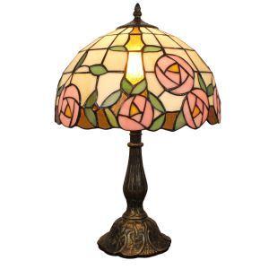 (EU Lager)D30cm Tiffany Tischleuchte Pink Rosen Design 1-flammig im Schlafzimmer