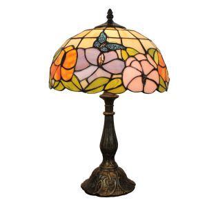 (EU Lager)D30cm Tiffany Tischleuchte Schmetterling&Blume Design 1-flammig im Wohnzimmer