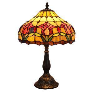 (EU Lager)Kunstvolle Tischleuchte Tiffany Stil Floral Design D30cm 1-flammig