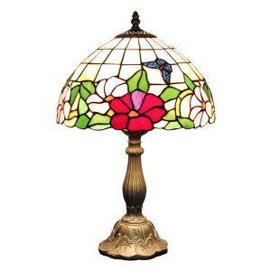 (EU Lager)Tiffany Tischleuchte D30cm Schmetterling Blumen Design 1-flammig im Wohnzimmer