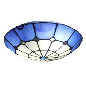 (EU Lager)Tiffany Deckenleuchte D30cm Blau Rand Design 2-flammig im Wohnzimmer