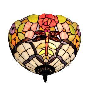 (EU Lager)Tiffany Deckenleuchte D30cm Libellen Blumen Design 2-flammig