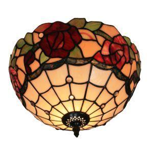 (EU Lager)Tiffany Deckenleuchte D30cm Rosen Design 2-flammig im Schlafzimmer