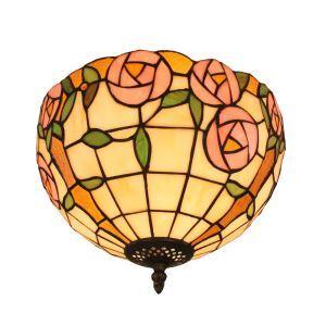 (EU Lager)Tiffany Deckenleuchte D30cm Pink Rosen Design 2-flammig