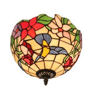 (EU Lager)D30cm Tiffany Deckenleuchte Kolibris Blumen Design 2-flammig