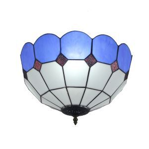 (EU Lager)D30cm Tiffany Deckenleuchte Blau Rand 2-flammig im Schlafzimmer