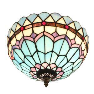 (EU Lager)Farbenfrohe Deckenleuchte Tiffany Stil D30cm 2-flammig