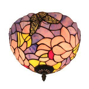 (EU Lager)D30cm Tiffany Deckenleuchte Schmetterling Blume Design 2-flammig