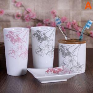 (EU Lager)Moderne Badset 4/5-teilig Kirschblüte Design aus Keramik