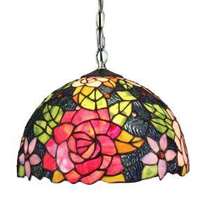 (EU Lager)D30cm Tiffany Hängeleuchte Bunte Blumen Design 1-flammig im Esszimmer