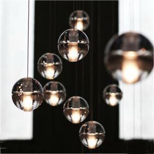 (EU Lager)Versandkostenfrei Pendelleuchte Modern Kristall 7-flammig Galvanisiert Transparent Kugel Esszimmer