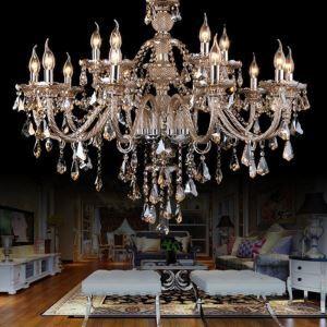 Zeige Details für Kristall Kronleuchter Prachtvoll Beige 15-flammig im Wohnzimmer