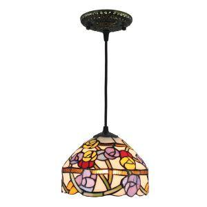 Tiffany Hängeleuchte D20cm Bunte Blumen Design 1-flammig im Schlafzimmer