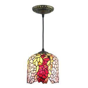 Tiffany Pendelleuchte D20cm Blätter Design 1-flammig im Schlafzimmer