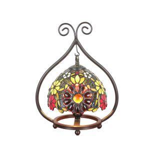 Tiffany Tischleuchte Blumen Design D20cm 1-flammig im Schlafzimmer