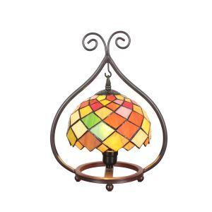 D20cm Farbenfrohe Tischleuchte Tiffany Stil 1-flammig im Wohnzimmer