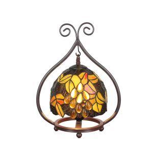 D20cm Tiffany Tischleuchte Weintraube Design 1-flammig im Schlafzimmer