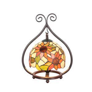 D20cm Tiffany Tischleuchte Sonnenblume Design 1-flammig im Wohnzimmer