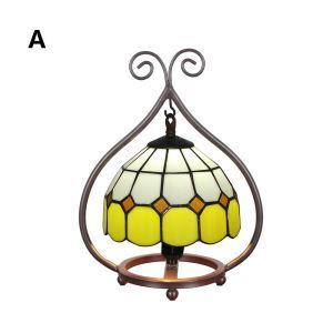 D20cm Tiffany Tischleuchte Geometrisch Design 1-flammig im Wohnzimmer