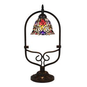 D20cm Floral Vermusterte Tischleuchte Tiffany Stil 1-flammig im Wohnzimmer