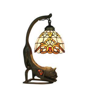 D20cm Tiffany Tischleuchte Katze Design 1-flammig im Esszimmer