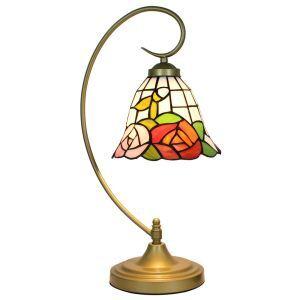 D20cm Tiffany Tischleuchte Bunte Rosen Design 1-flammig