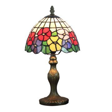 Lovely Tiffany Tischlampe D20cm Bunte Floral Design 1 Flammig Im Wohnzimmer