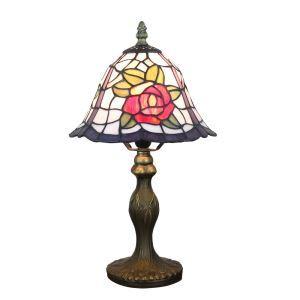 Tiffany Tischlampe D20cm Rose Design 1-flammig im Wohnzimmer