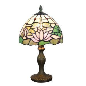 Tiffany Tischlampe D20cm Libellen&Lotus Design 1-flammig im Wohnzimmer