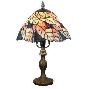 Tiffany Tischlampe D20cm Bunte Blätter Design 1-flammig im Wohnzimmer