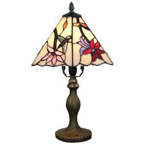 Tiffany Tischlampe D20cm Kolibris&Blumen Design 1-flammig im Schlafzimmer