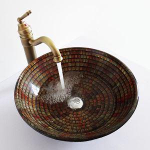 Glas Waschbecken Naturstein Design ohne Wasserhahn im Badezimmer
