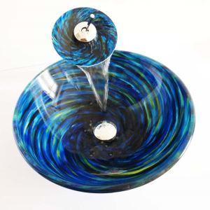 Modern Glas Waschbecken Set Spirale Design mit Wasserfall Wasserhahn