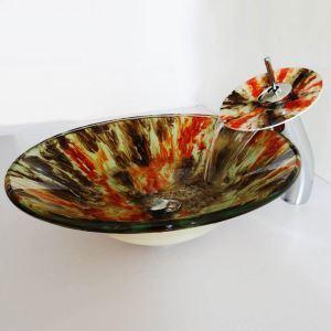 Stilvolles Glas Waschbecken Set Bunt mit Wasserfall Wasserhahn