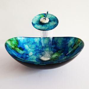 Modern Glas Waschbecken Set Bad Oval mit Wasserfall Wasserhahn
