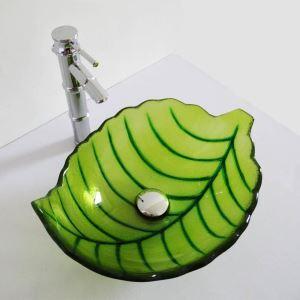 Glas Waschbecken Modern Blätter Design ohne Wasserhahn
