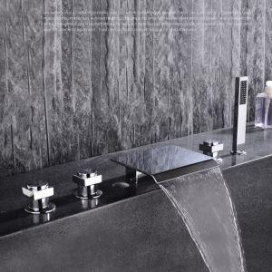 Moderne Wannenrandarmatur Chrom 5-Loch-Wasserfall-Wannenarmatur