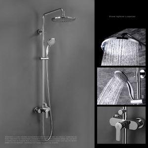 Moderne Duscharamatur Einhand Regenfall Chrom Wandmontage