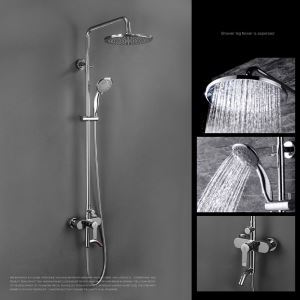 Modern Duschsystem Regenfall Chrom Aufputz Wandmontage