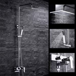 Modern Duschsystem Chrom mit Regenfall Duschkopf Aufputz Wandmontage