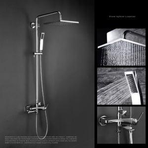 Moderne Duscharmatur Regenfall Chrom 3-Loch-Einhand