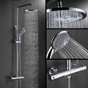 Modern Duschsystem Chrom mit Thermostatbatterie für Wandmontage