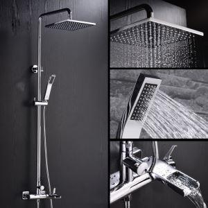Modern Duschsystem Regenfall Wandmontage 3-Loch-Wasserfall-Einhand