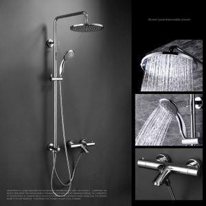 Modern Duschsystem Chrom Aufputz Wandmontage 4-Loch-Einhand