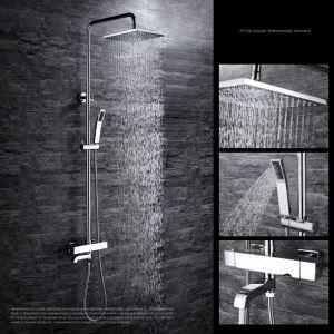 Moderne Duscharmatur Chrom mit Regenfall Kopfbrause Wandmontage