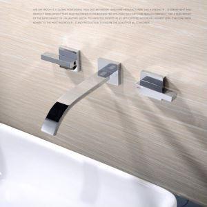 Moderne Waschtischarmatur Chrom Wandmontage 3-Loch-2-Griff